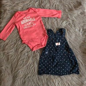 Baby girl dress with long sleeve onesie 9 months